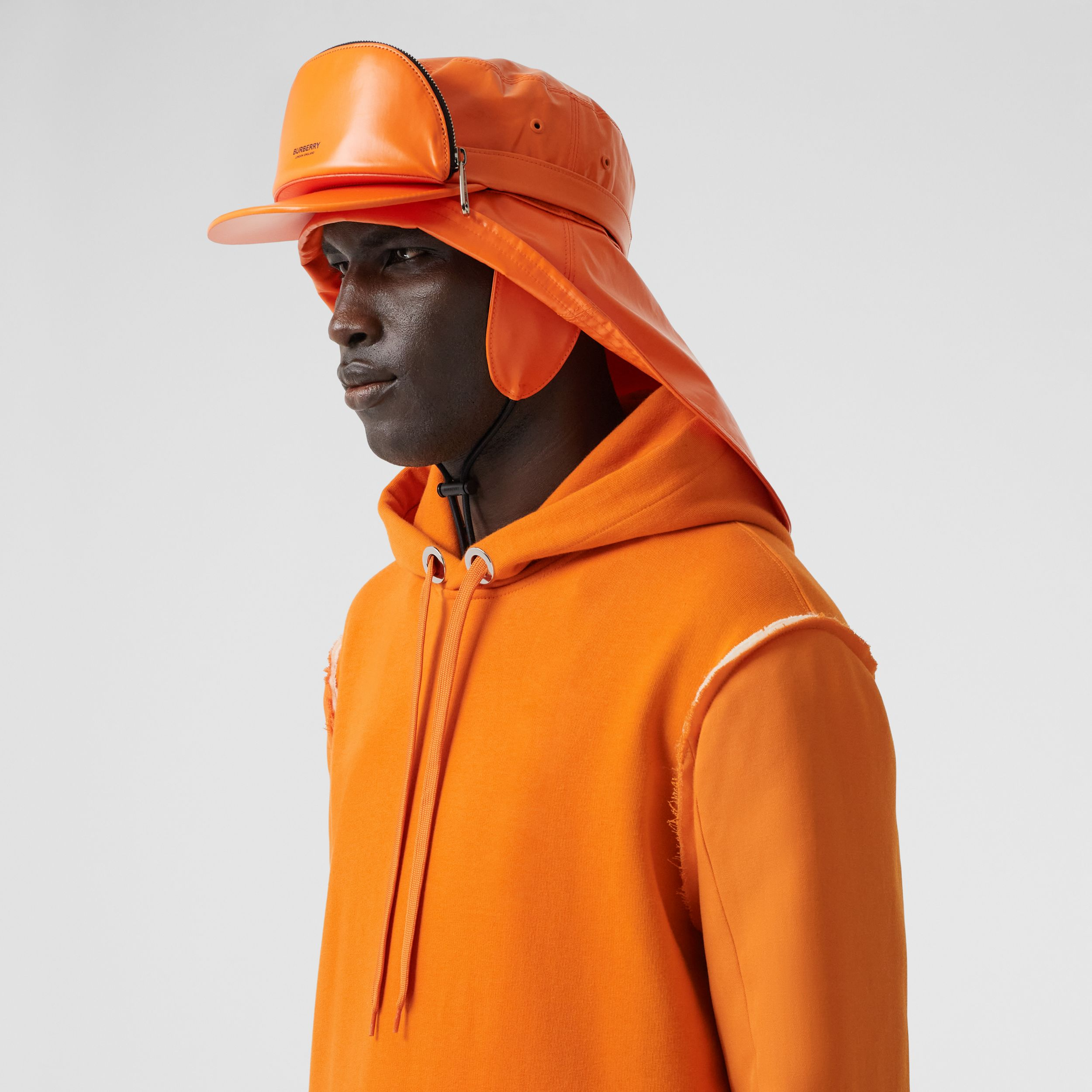 Cotton and Wool Reconstructed Hoodie in Deep Orange - Men | Burberry - 2