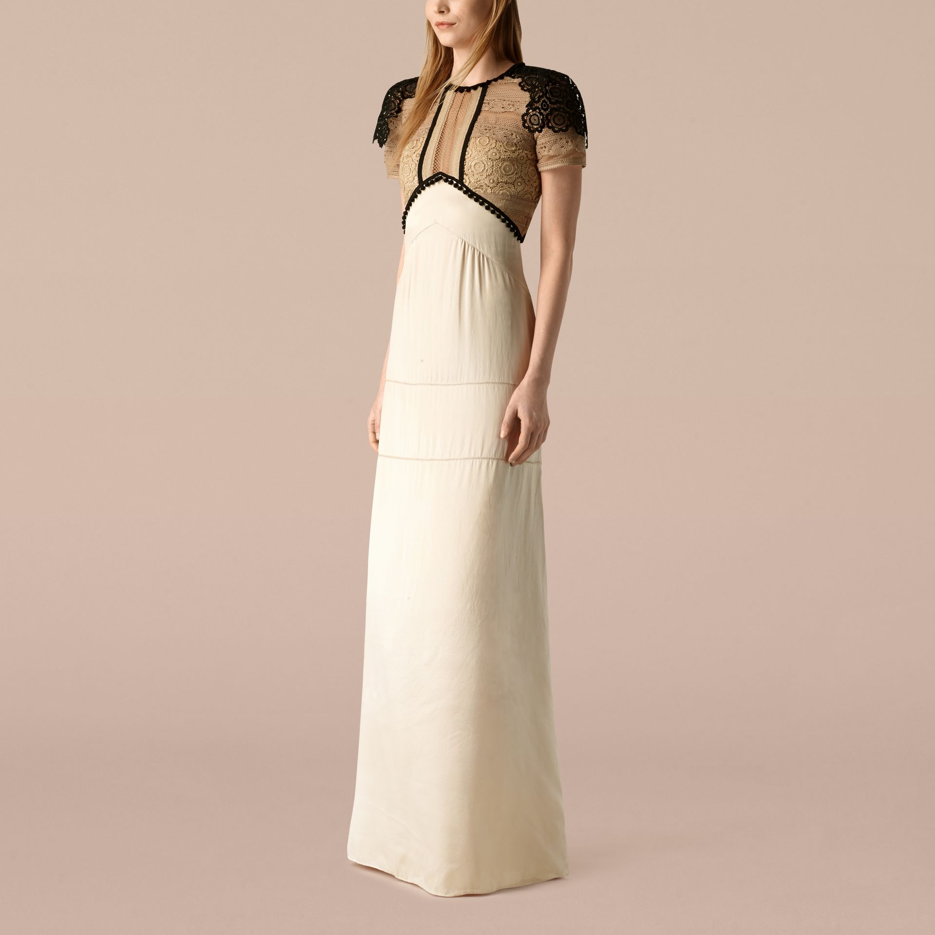 Light nude Floor-length Silk Satin Dress - gallery image 1