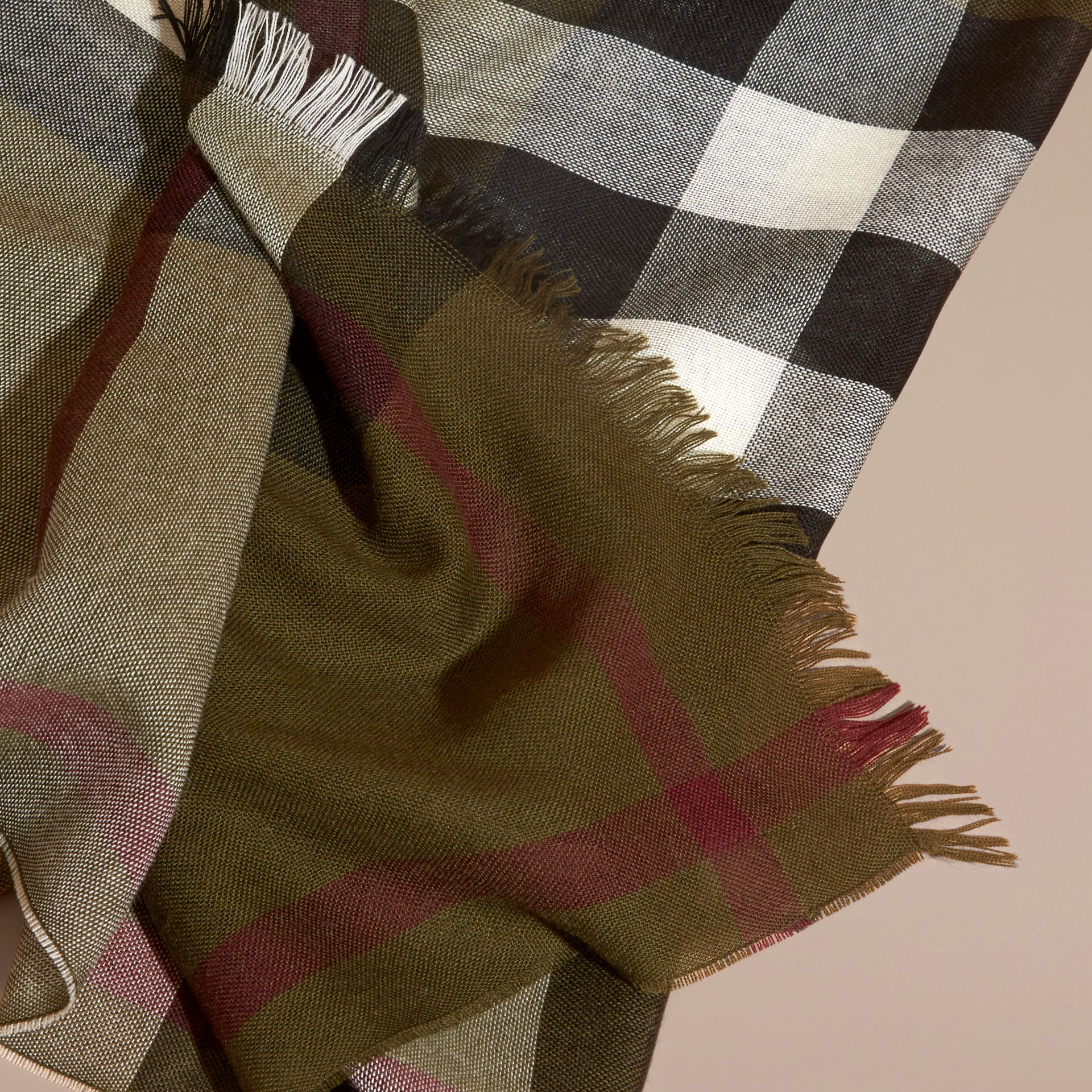Olive Lightweight Check Wool Cashmere Scarf Olive - gallery image 2