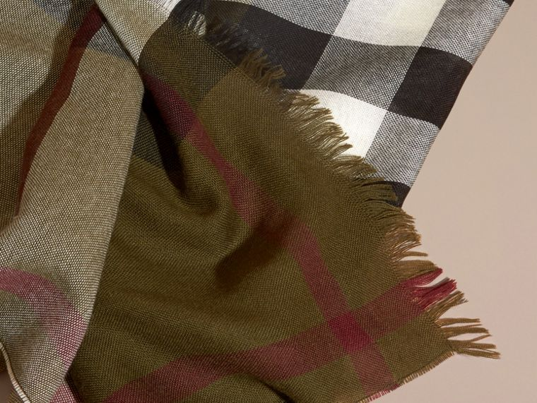 Olive Lightweight Check Wool Cashmere Scarf Olive - cell image 1