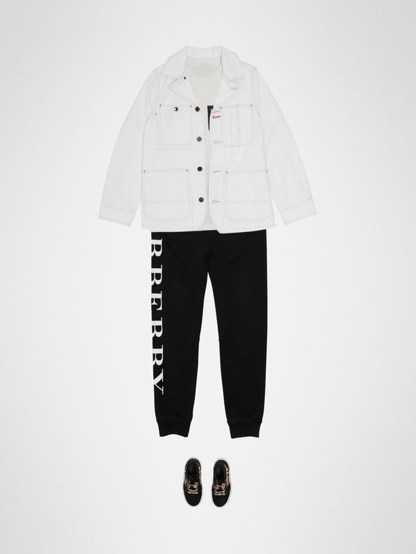 Topstitched Denim Jacket in Natural White | Burberry - cell image 2