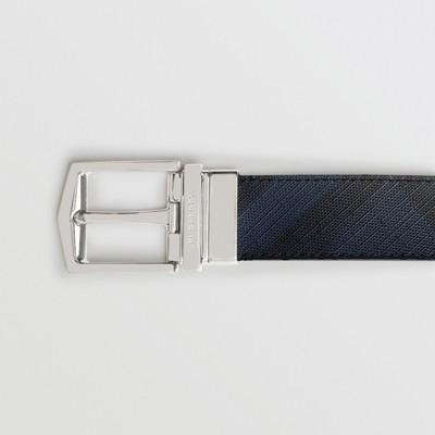 Burberry - Ceinture réversible en tissu London check et cuir - 2