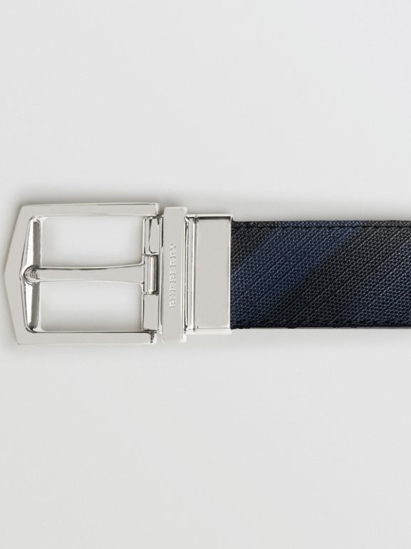 Reversible London Check and Leather Belt in Navy/black - Men | Burberry Canada - cell image 1
