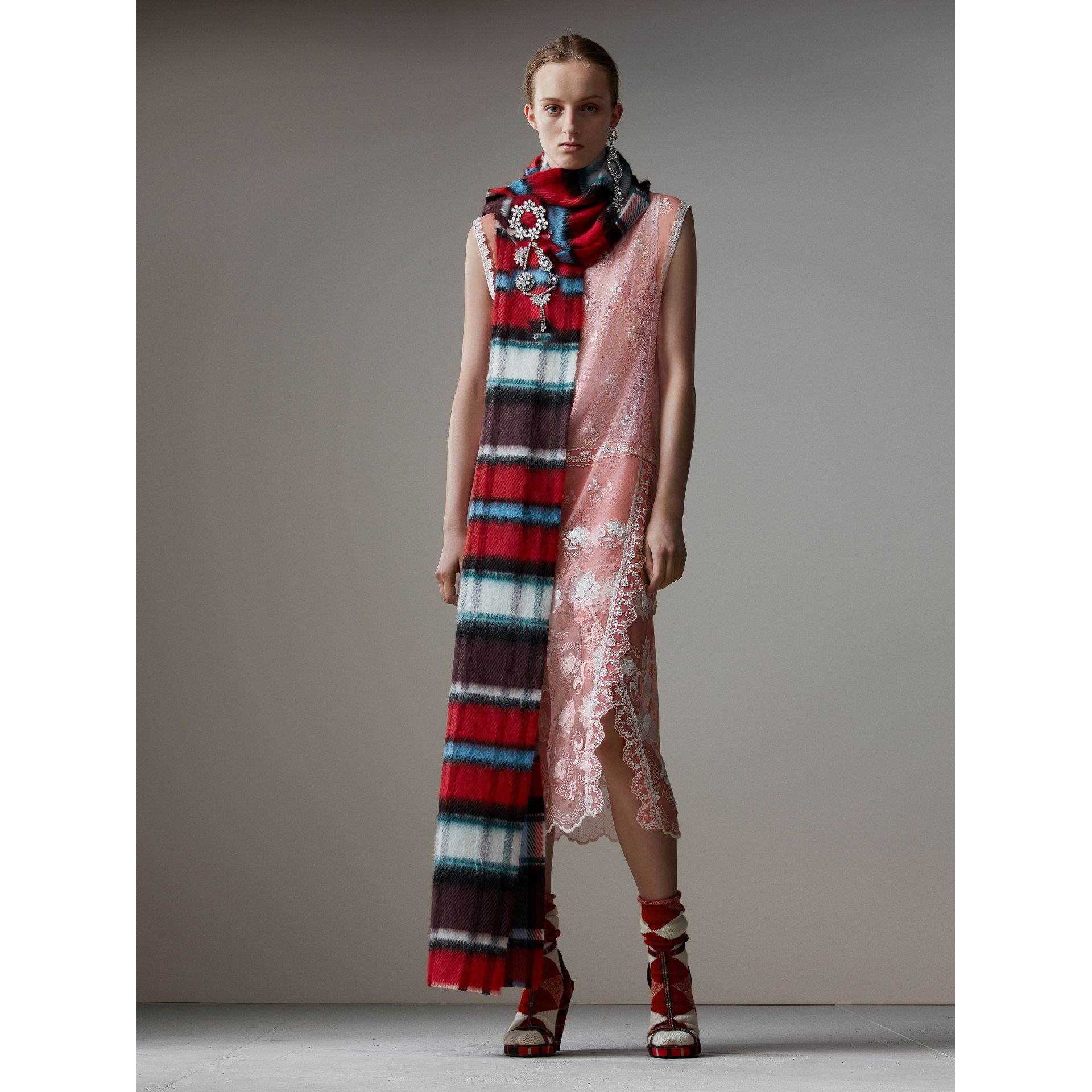 Long Check Wool Mohair Blend Scarf in Red | Burberry - gallery image 2