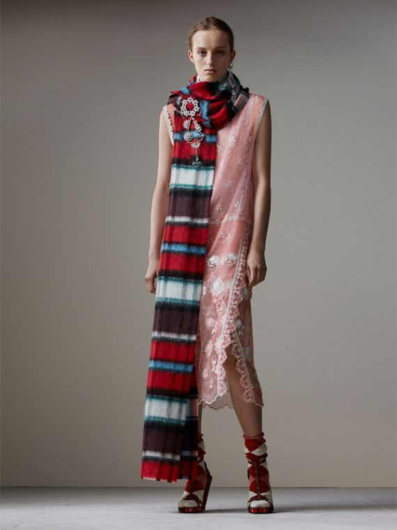 Long Check Wool Mohair Blend Scarf in Red | Burberry - cell image 2