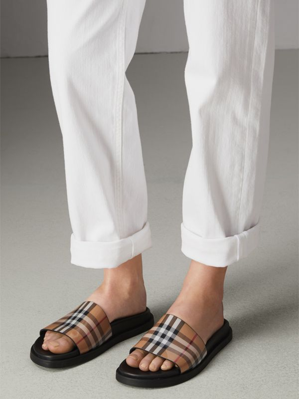 Vintage Check and Leather Slides in Antique Yellow - Women | Burberry - cell image 2