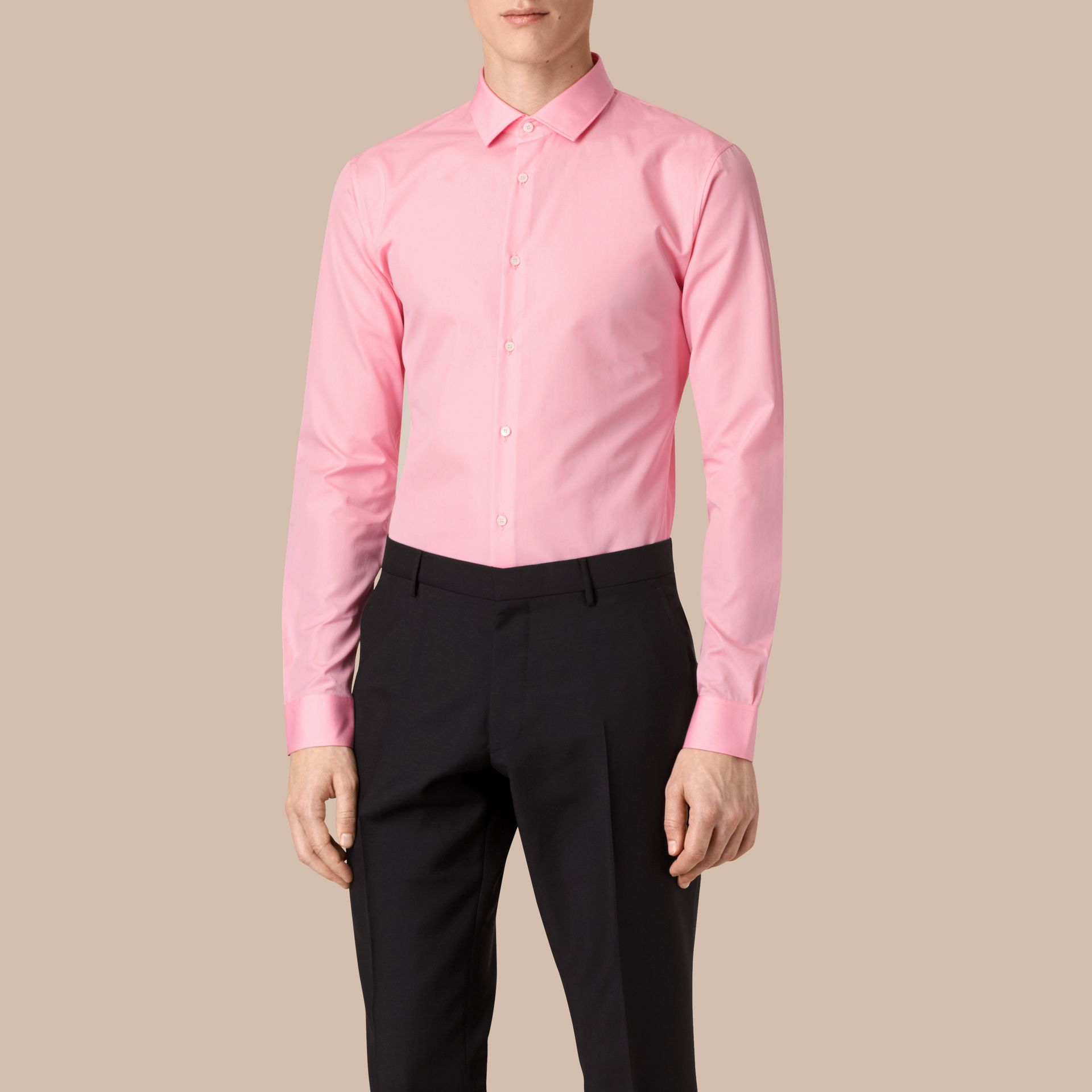 City pink Slim Fit Double-cuff Cotton Poplin Shirt - gallery image 1