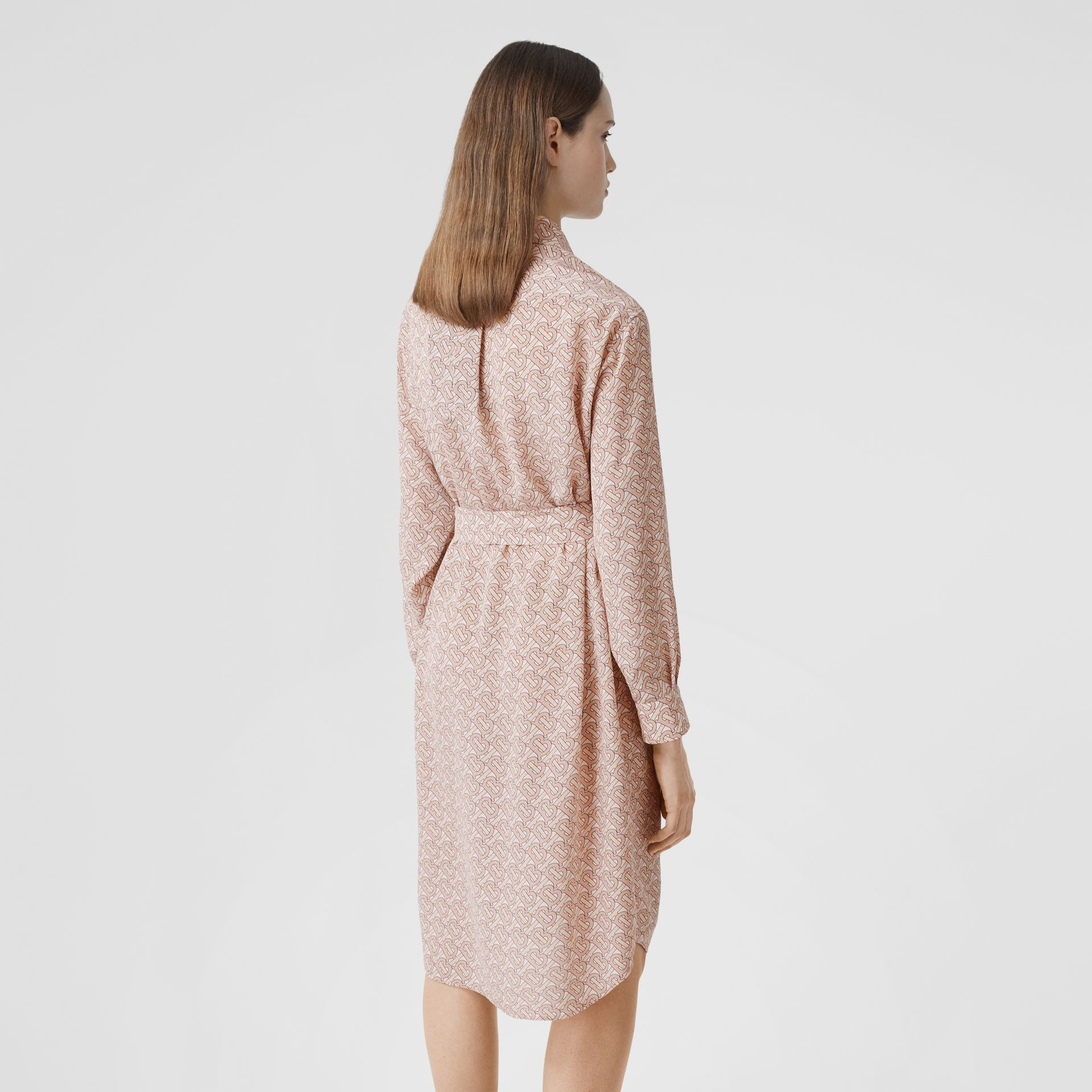 Monogram Print Silk Crepe De Chine Shirt Dress in Pale Copper Pink - Women | Burberry - gallery image 2