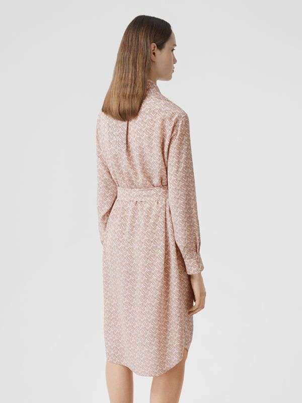 Monogram Print Silk Crepe De Chine Shirt Dress in Pale Copper Pink - Women | Burberry - cell image 2