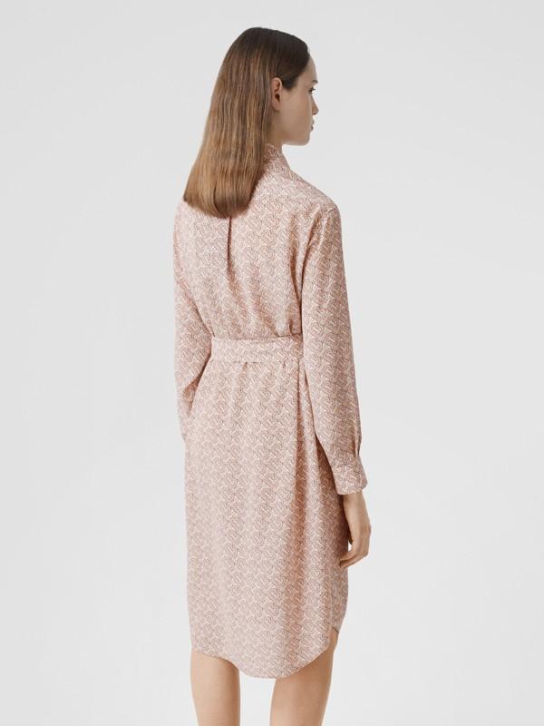 Monogram Print Silk Crepe De Chine Shirt Dress in Pale Copper Pink - Women | Burberry Hong Kong S.A.R - cell image 2