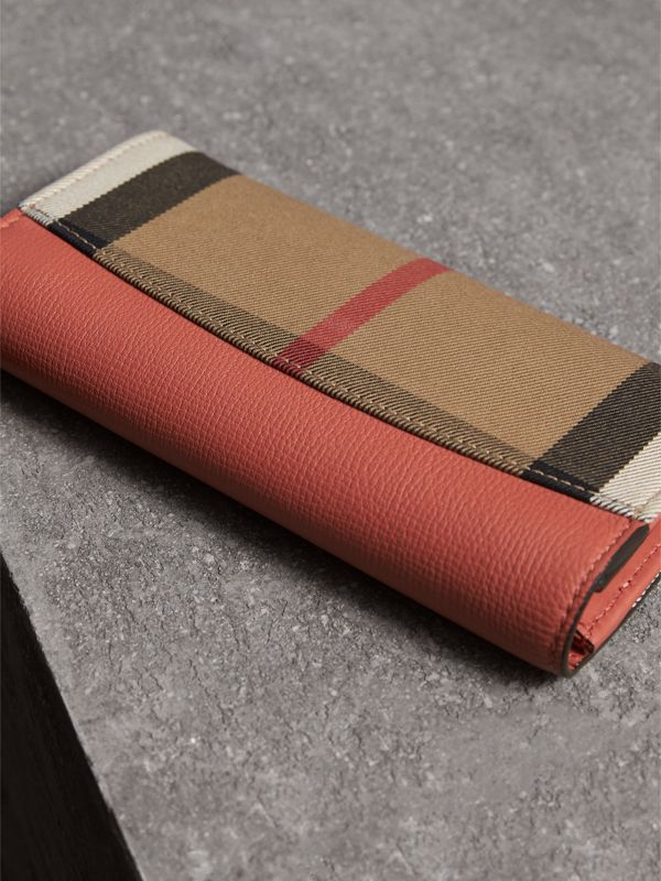 House Check And Leather Continental Wallet in Cinnamon Red - Women | Burberry - cell image 3