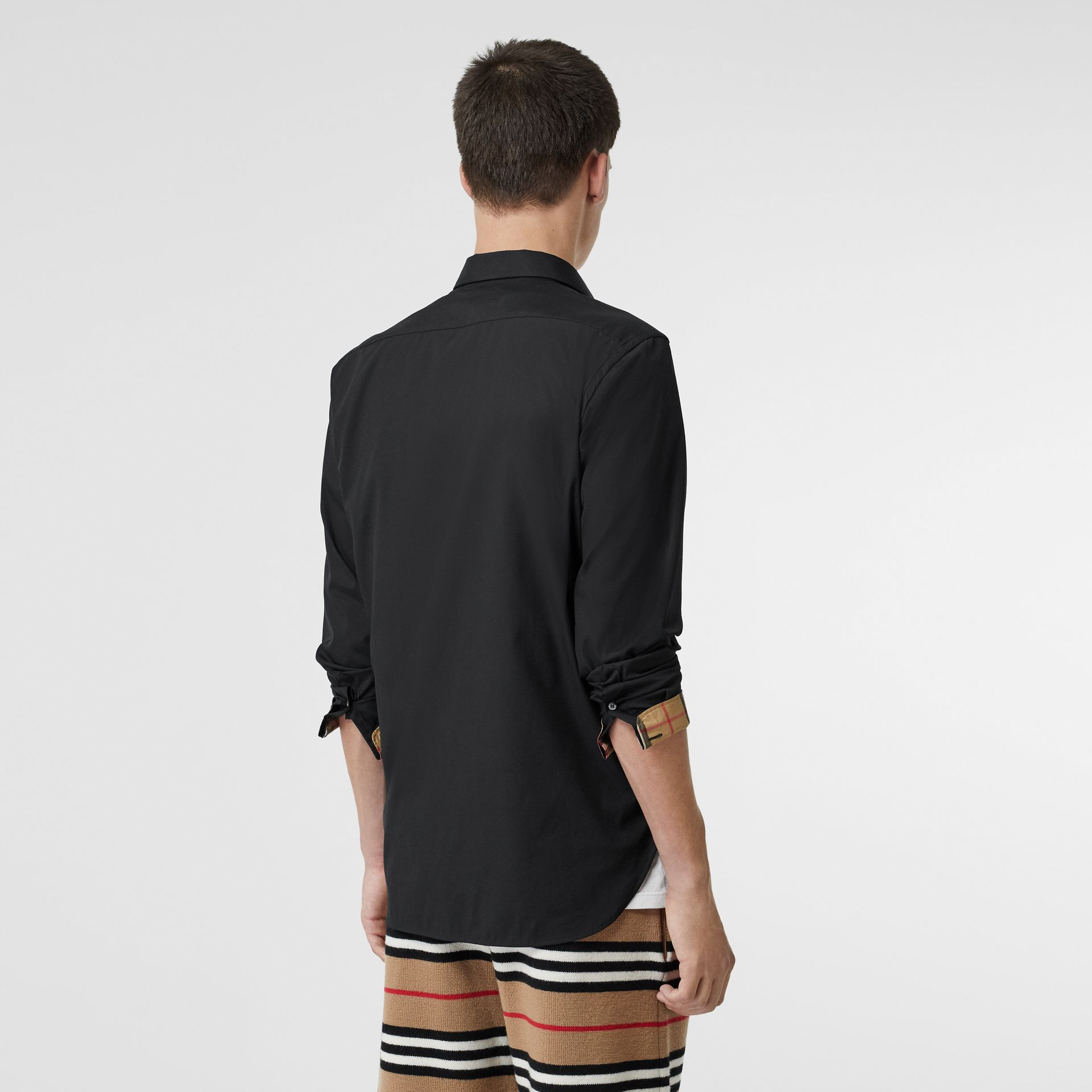 Stretch Cotton Poplin Shirt in Black - Men | Burberry United States - gallery image 2