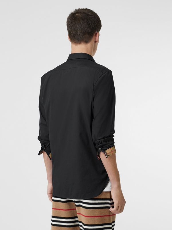 Stretch Cotton Poplin Shirt in Black - Men | Burberry United States - cell image 2