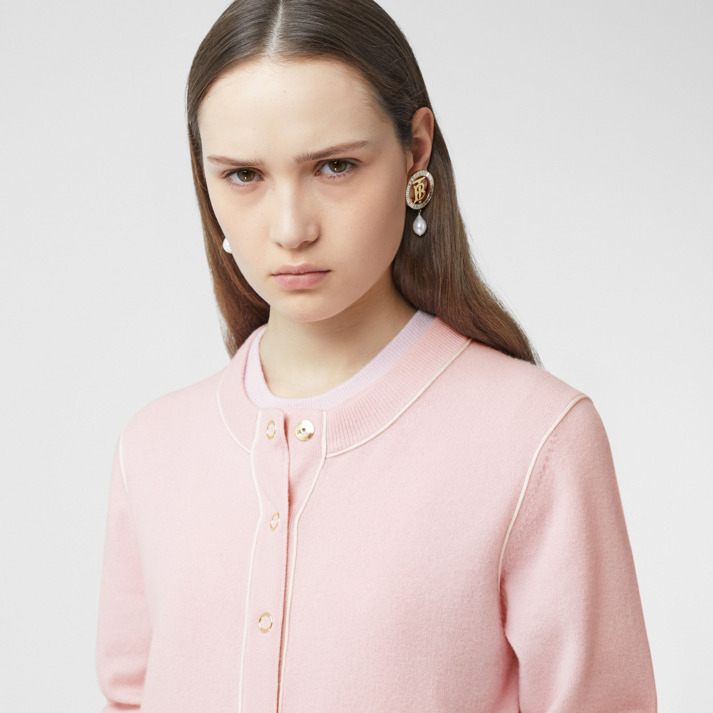 Silk Trim Monogram Motif Cashmere Cardigan in Copper Pink - Women | Burberry - 2