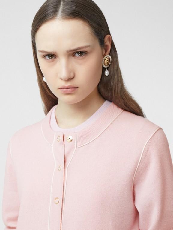 Silk Trim Monogram Motif Cashmere Cardigan in Copper Pink - Women | Burberry United Kingdom - cell image 1