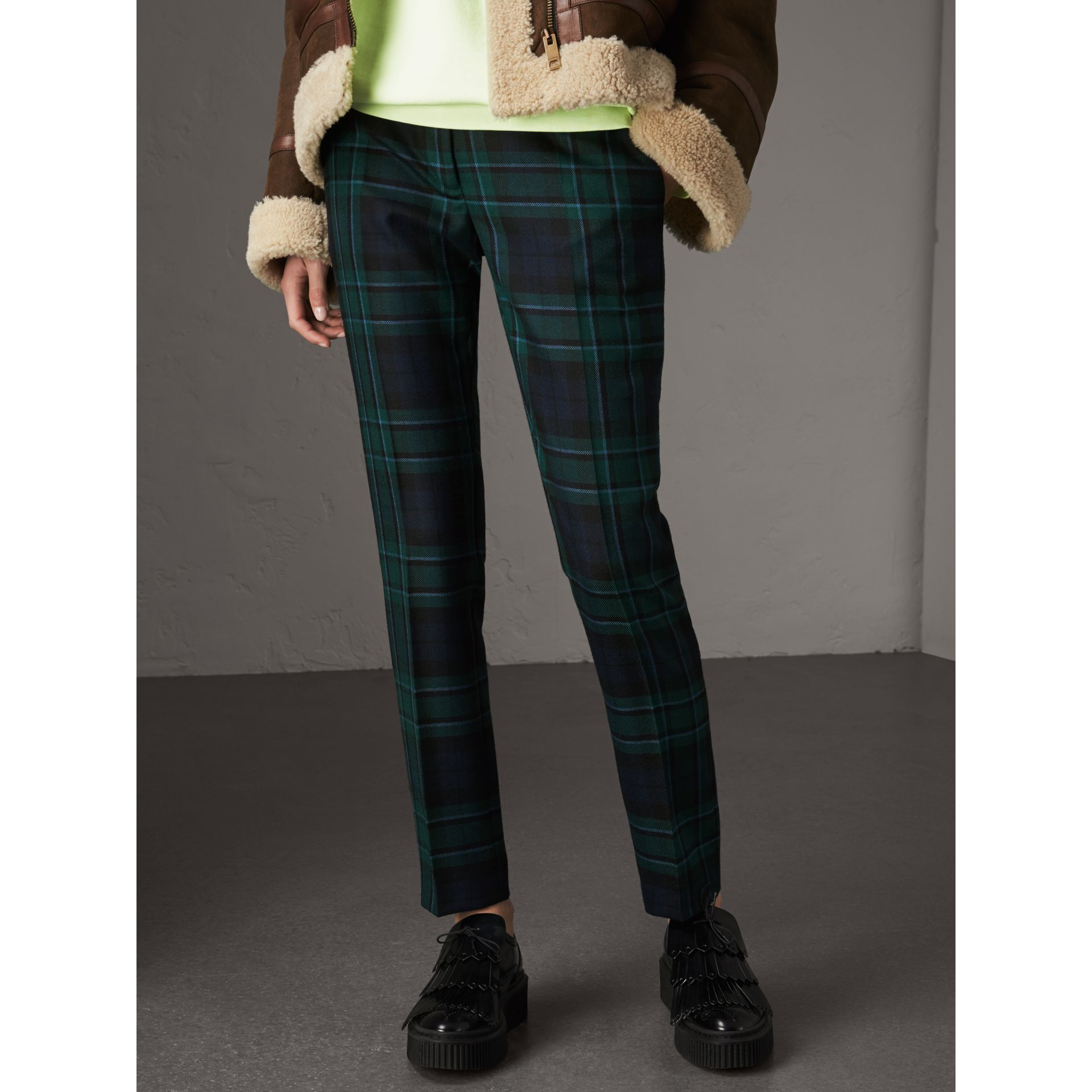 Tartan Wool Tailored Trousers in Pine Green - Women | Burberry United Kingdom - gallery image 5
