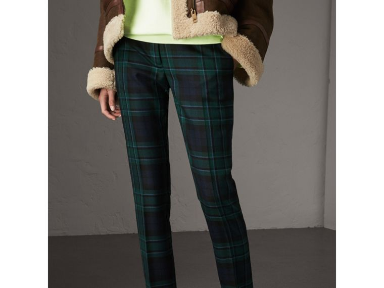 Tartan Wool Tailored Trousers in Pine Green - Women | Burberry - cell image 4