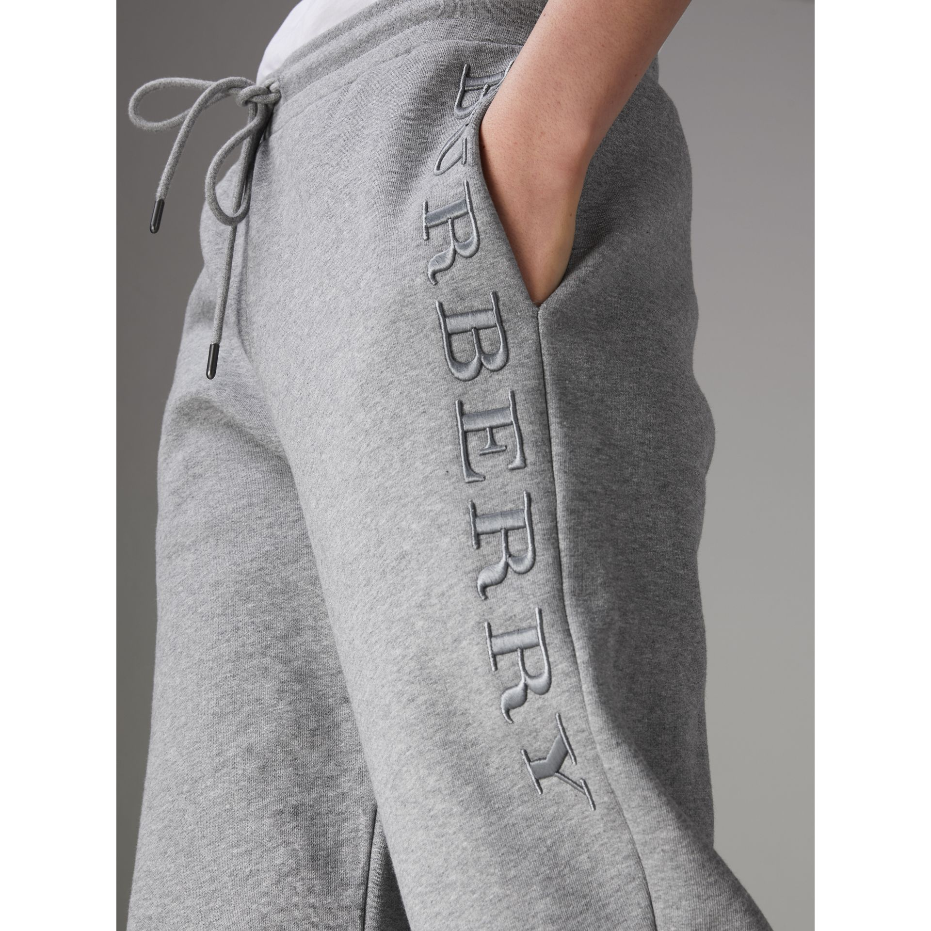 Embroidered Jersey Sweatpants in Pale Grey Melange - Women | Burberry United Kingdom - gallery image 1