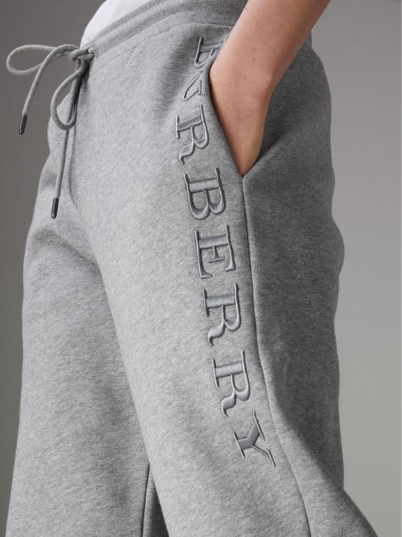 Embroidered Jersey Sweatpants in Pale Grey Melange - Women | Burberry United Kingdom - cell image 1