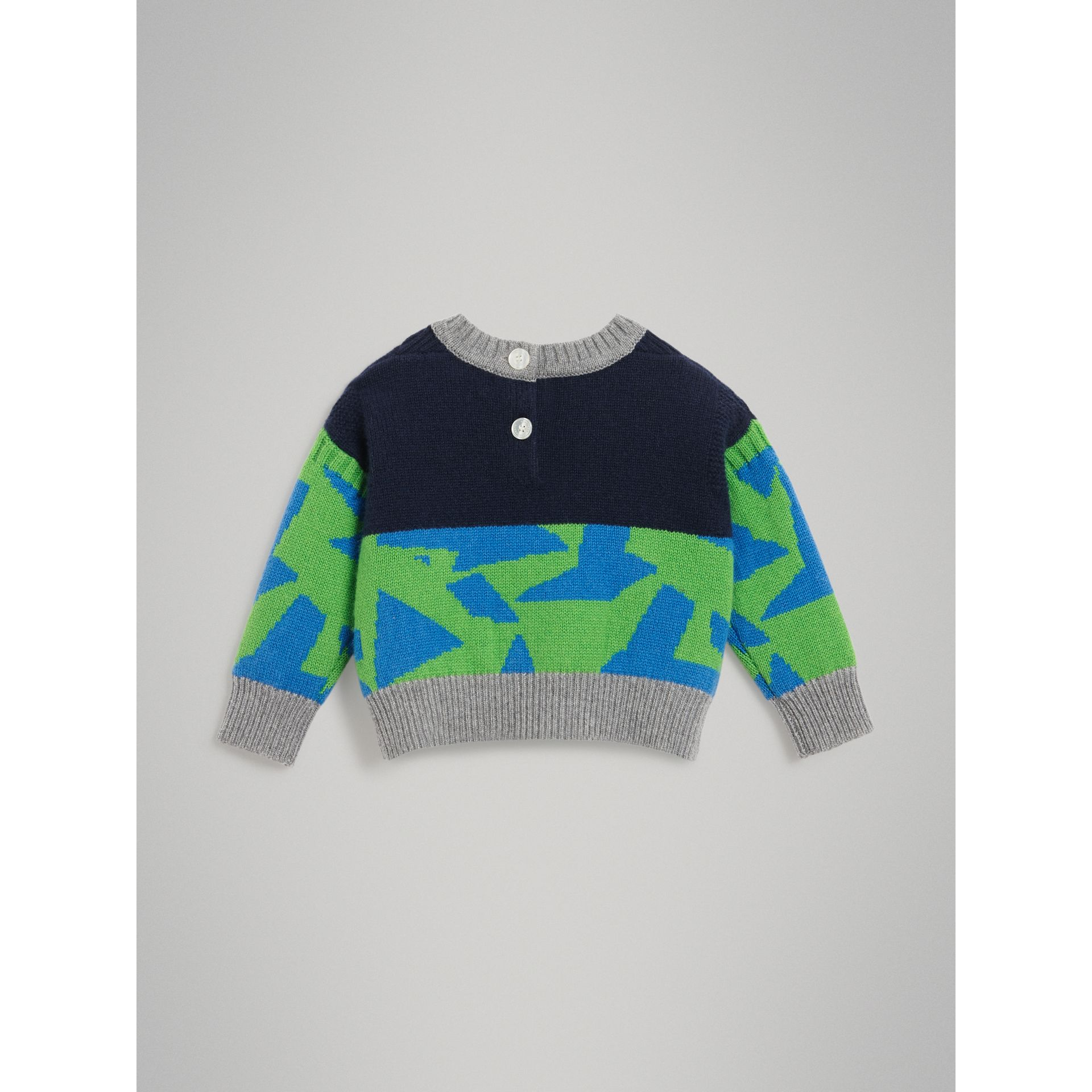 Monster Detail Intarsia Cashmere Sweater in Navy - Children | Burberry United Kingdom - gallery image 3