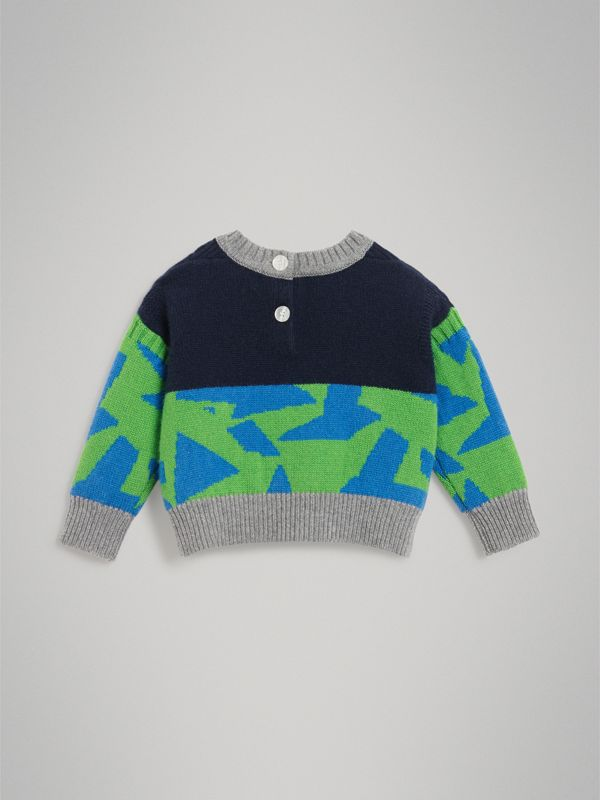 Monster Detail Intarsia Cashmere Sweater in Navy - Children | Burberry United Kingdom - cell image 3