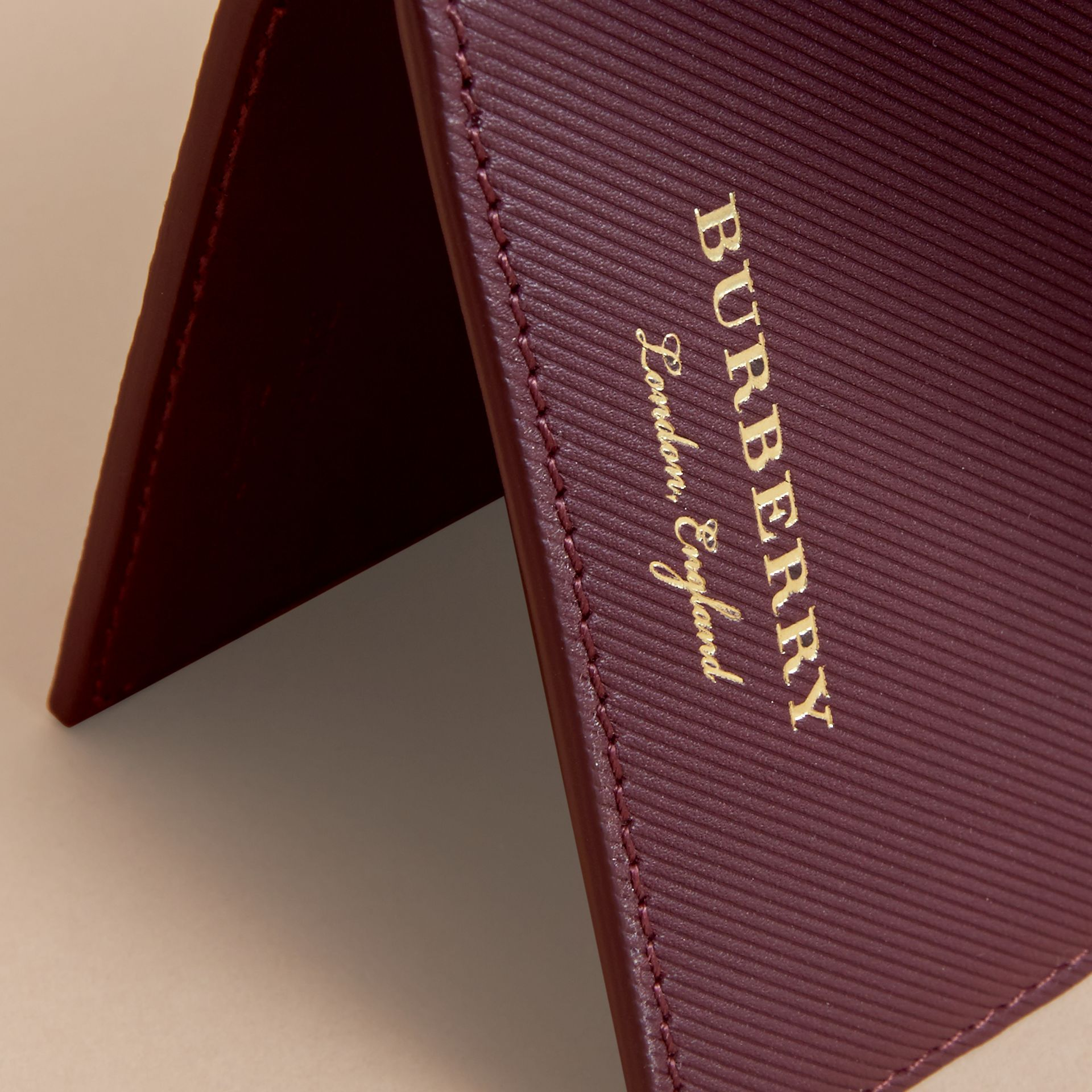 Trench Leather International Bifold Wallet in Wine - Men | Burberry Australia - gallery image 2