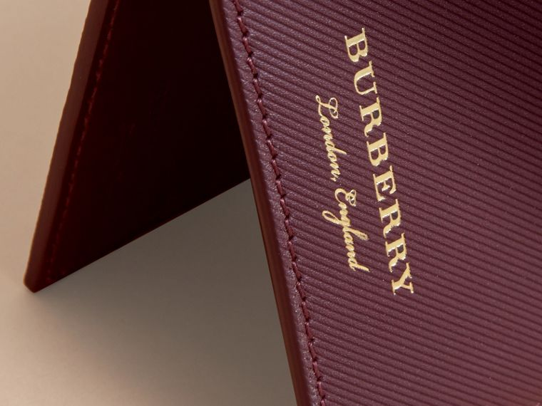 Trench Leather International Bifold Wallet in Wine - Men | Burberry Australia - cell image 1