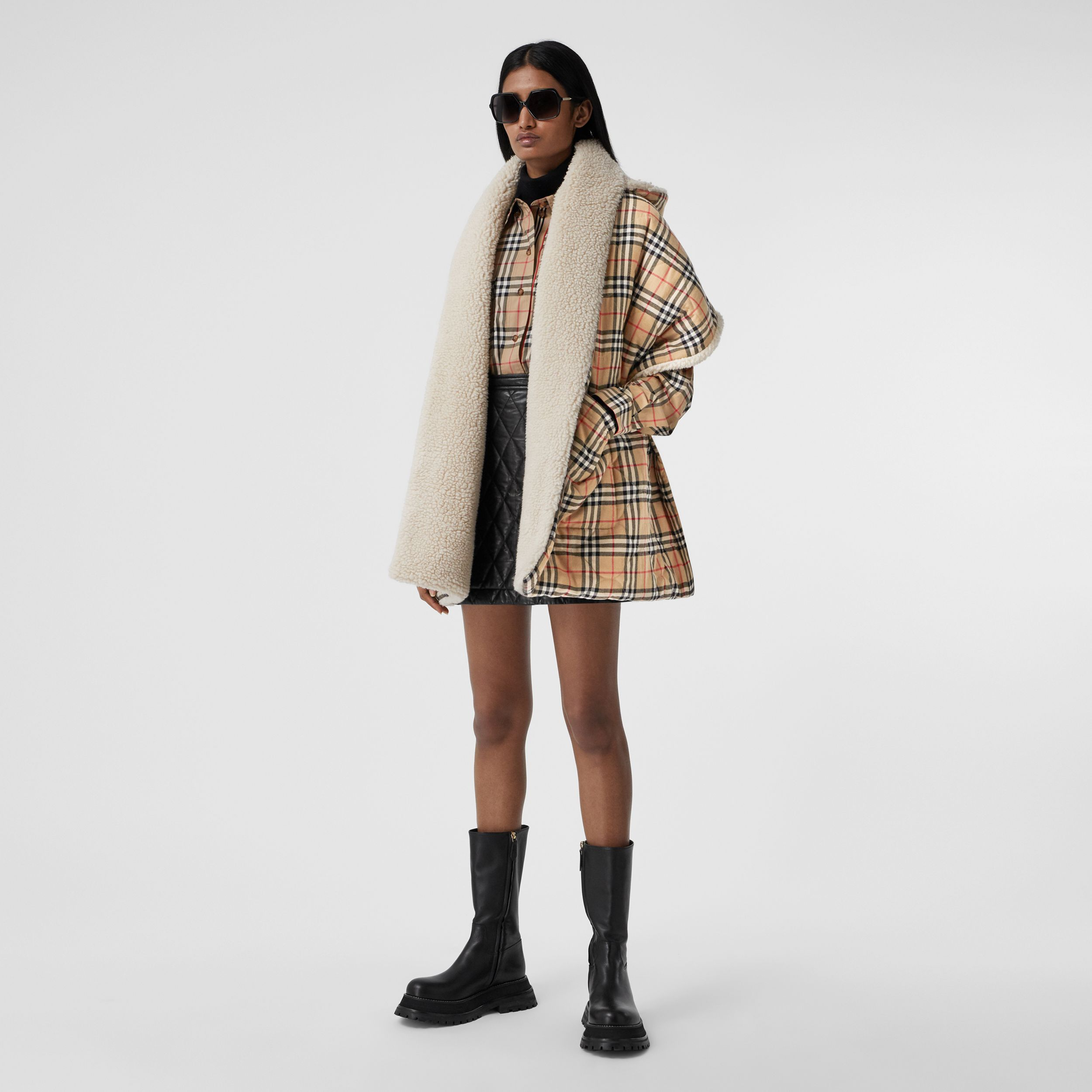 Fleece-lined Vintage Check Cotton Hooded Cape in Camel - Women | Burberry - 1