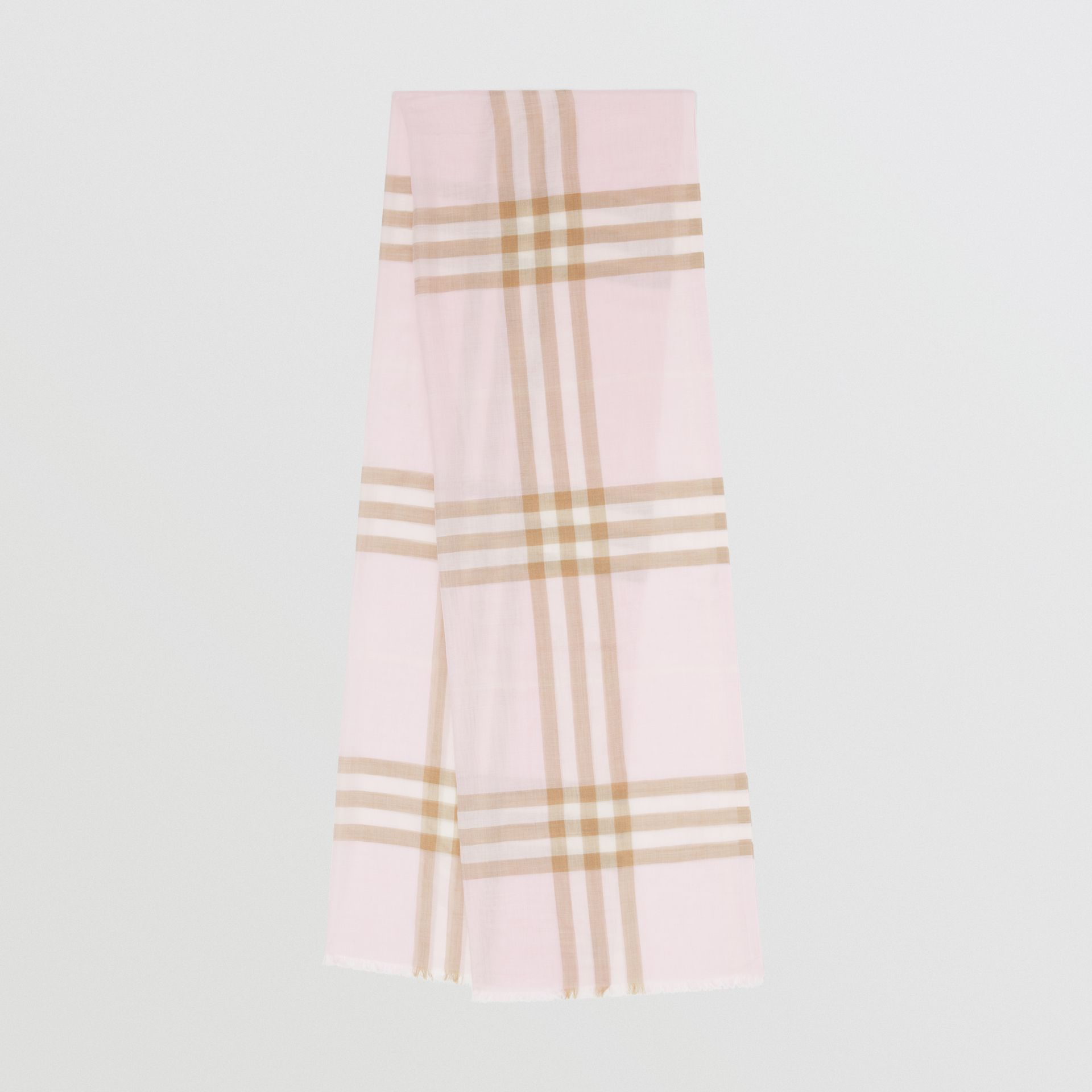 Lightweight Check Wool Silk Scarf in Alabaster | Burberry Singapore - gallery image 0