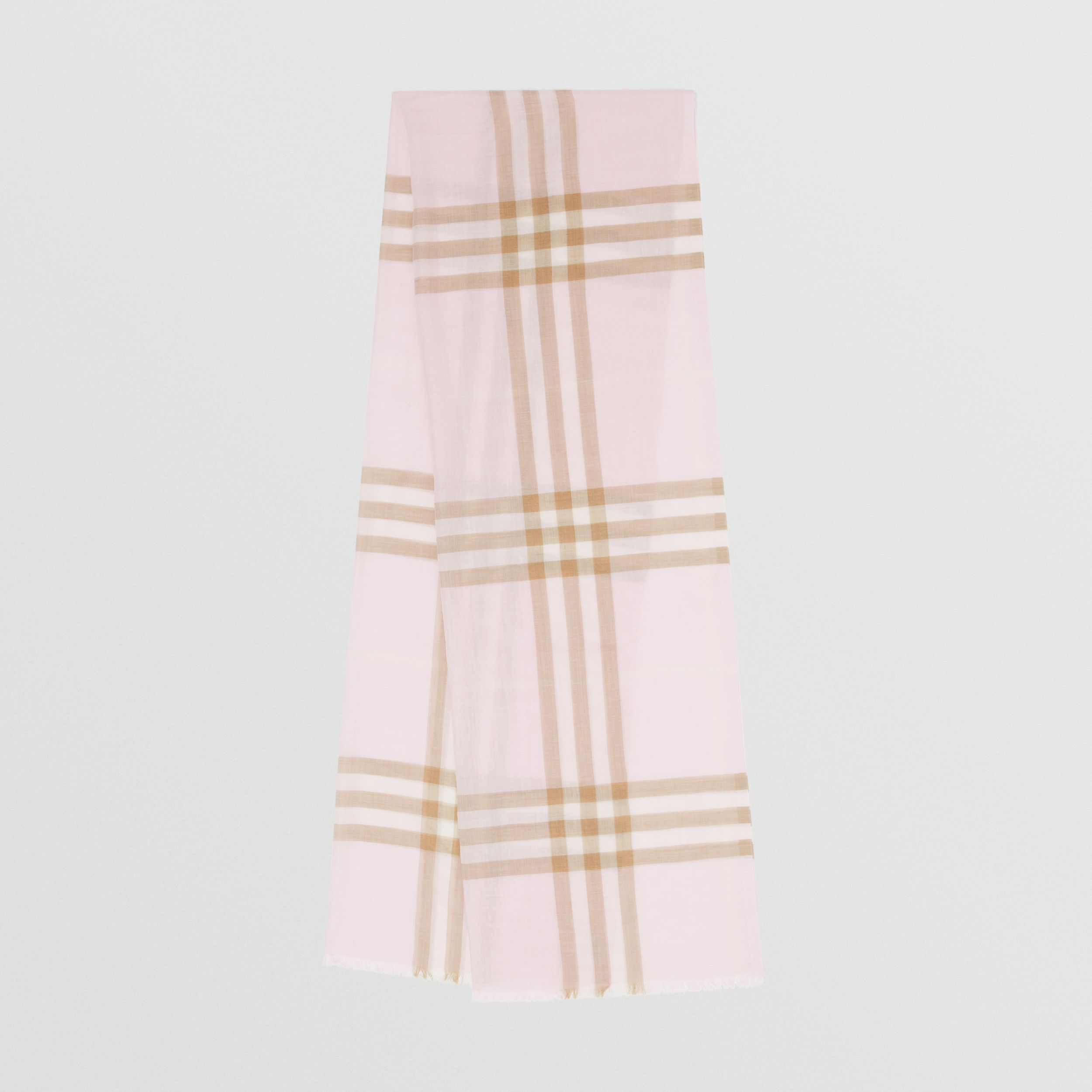 Lightweight Check Wool Silk Scarf in Alabaster | Burberry - 1