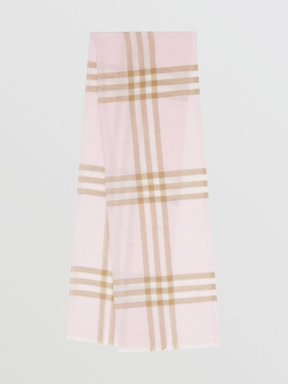 Lightweight Check Wool Silk Scarf in Alabaster