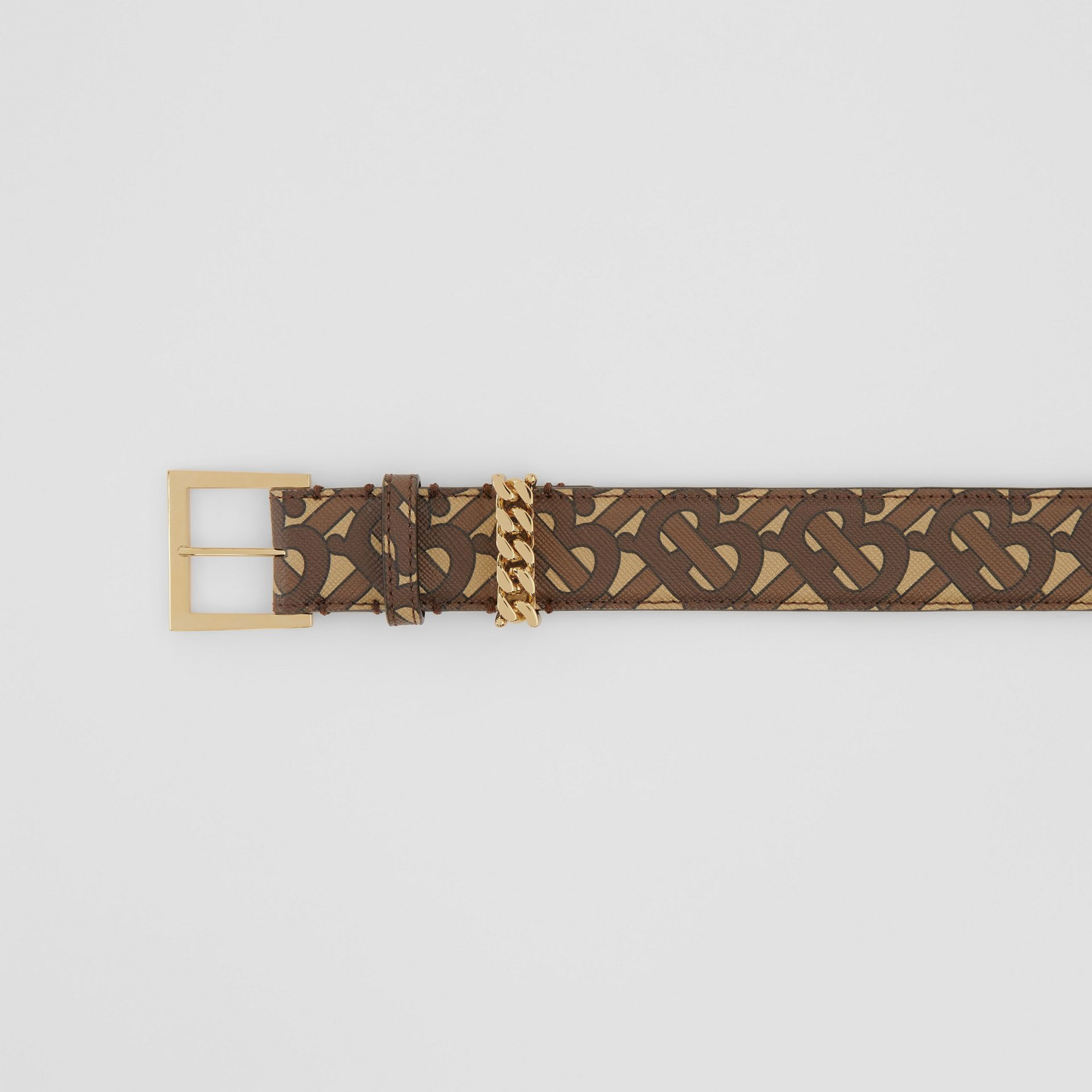 Chain Detail Monogram Print E-canvas Belt in Bridle Brown - Women | Burberry - gallery image 1
