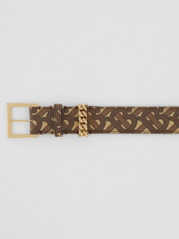 Chain Detail Monogram Print E-canvas Belt in Bridle Brown - Women | Burberry - cell image 1