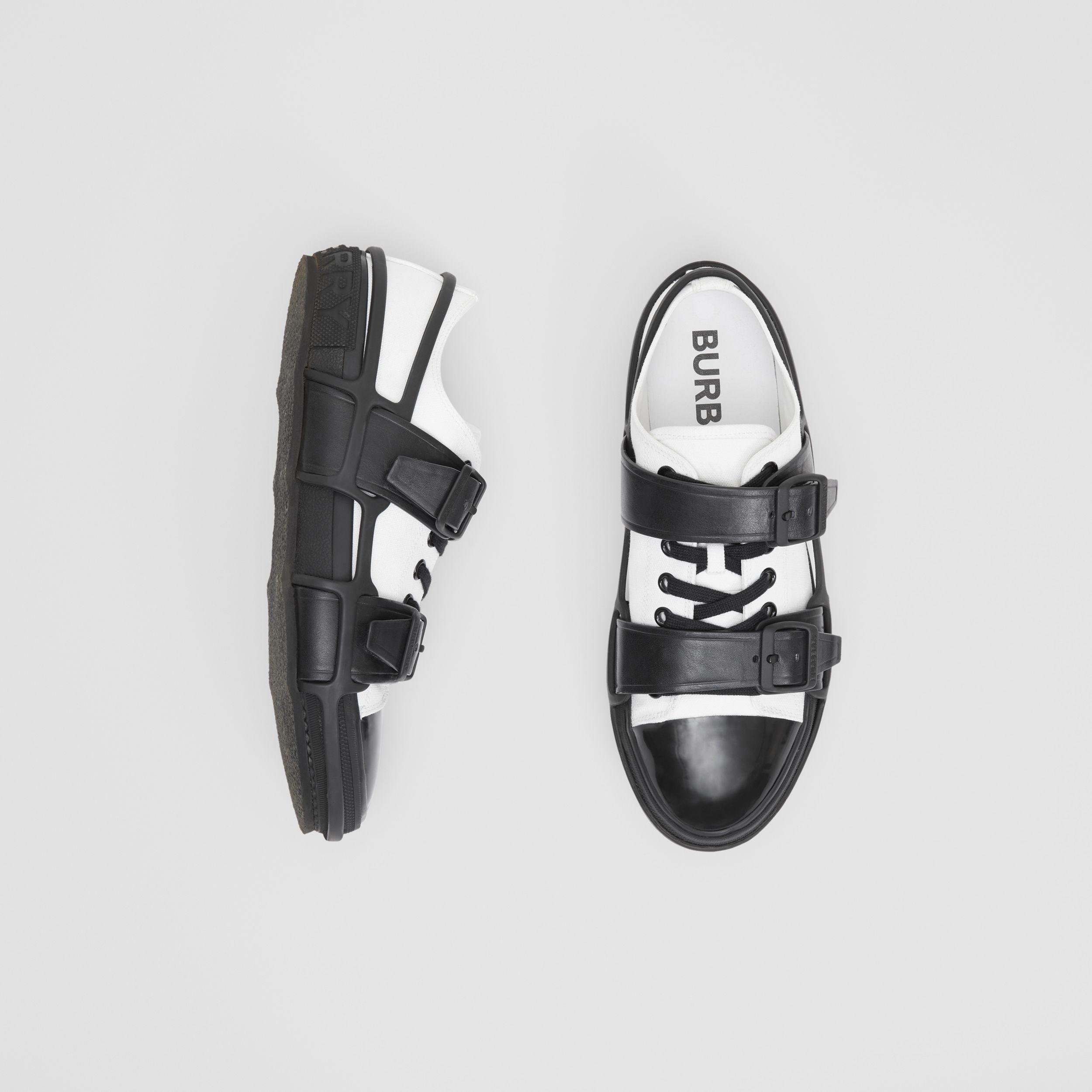 Two-tone Cotton and Leather Webb Sneakers in White/black - Men | Burberry Australia - 1