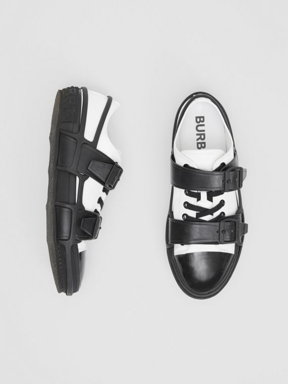 Two-tone Cotton and Leather Webb Sneakers in White/black