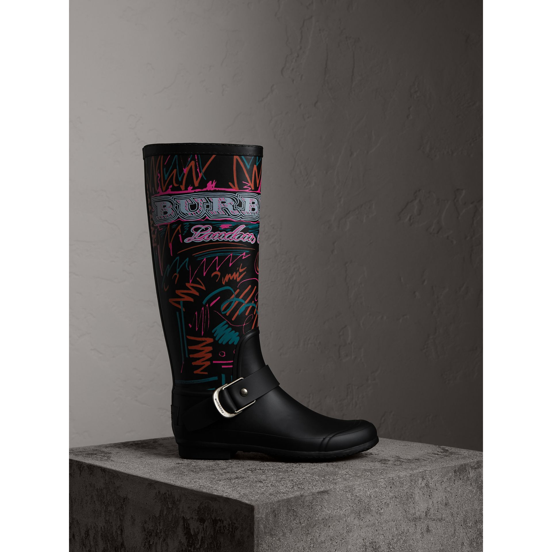 Doodle Print Rubber Rain Boots in Black - Women | Burberry - gallery image 0