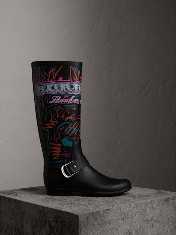 Doodle Print Rubber Rain Boots in Black