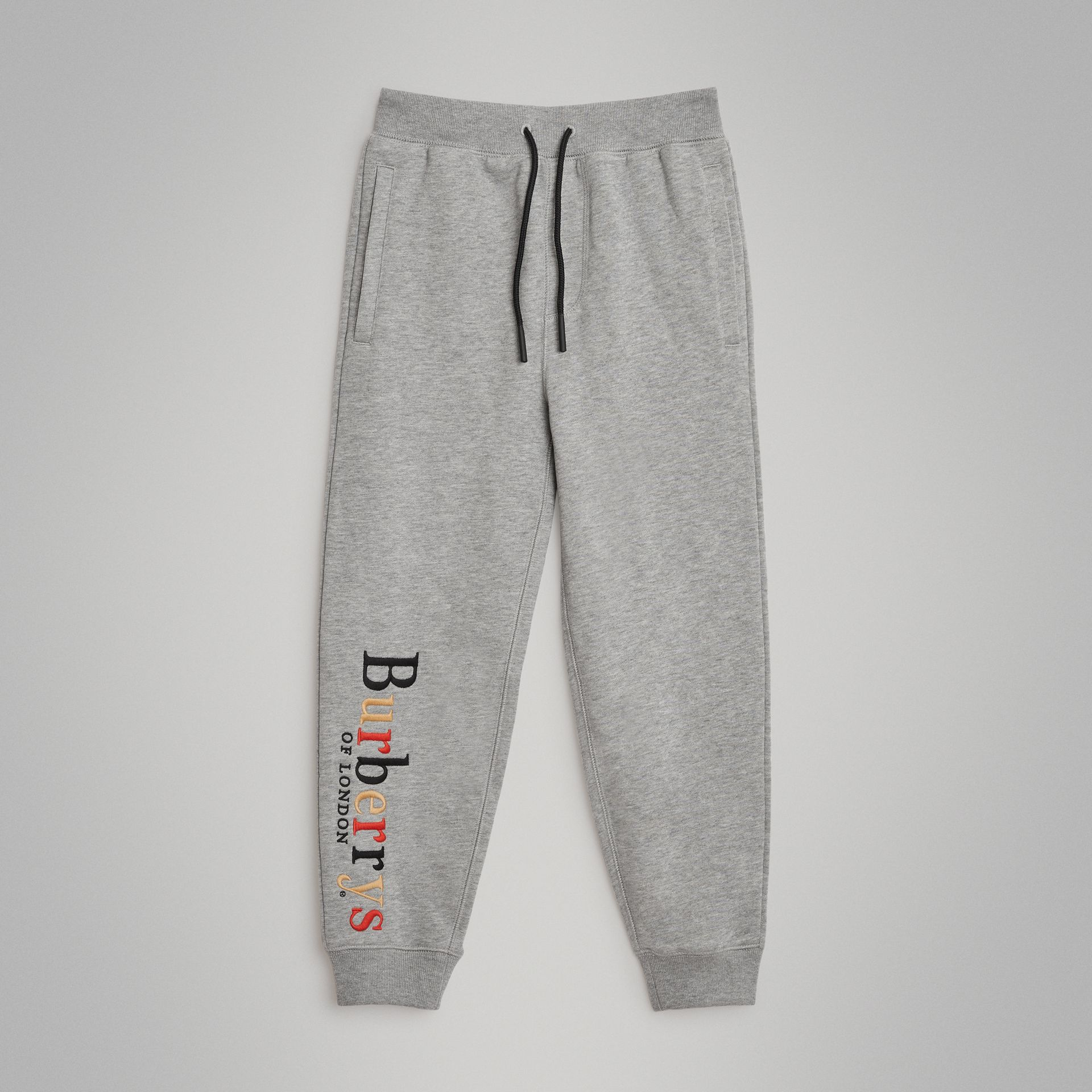 Embroidered Archive Logo Cotton Track Pants in Grey Melange | Burberry Australia - gallery image 0