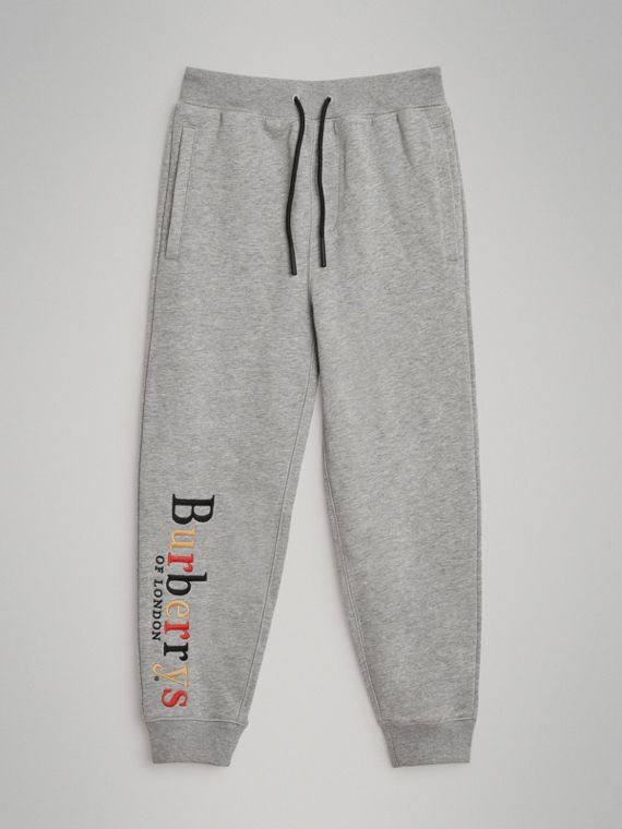 Embroidered Archive Logo Cotton Trackpants in Grey Melange