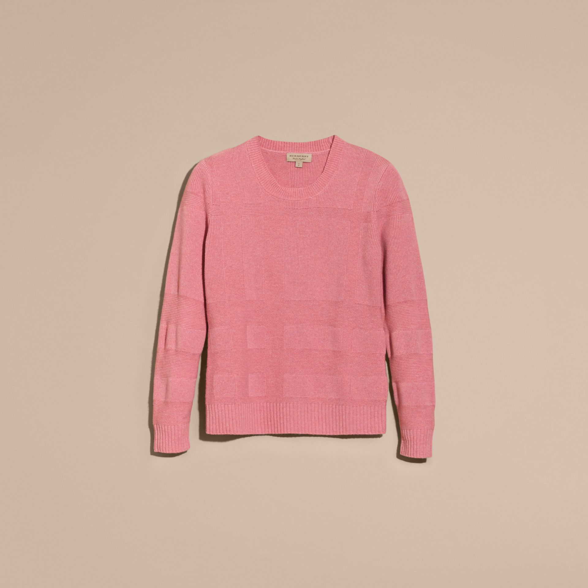 Check-knit Wool Cashmere Sweater in Hydrangea Pink Melange - gallery image 4