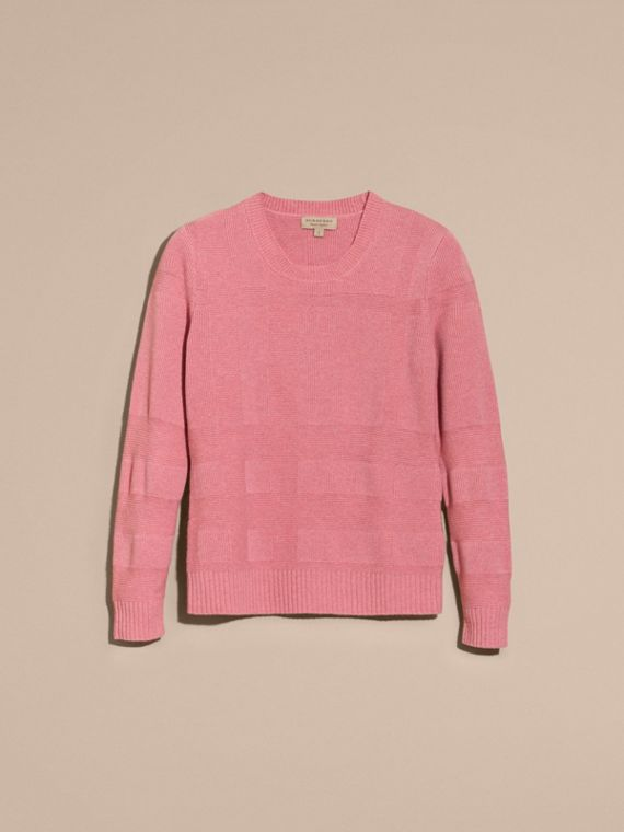 Check-knit Wool Cashmere Sweater in Hydrangea Pink Melange - cell image 3
