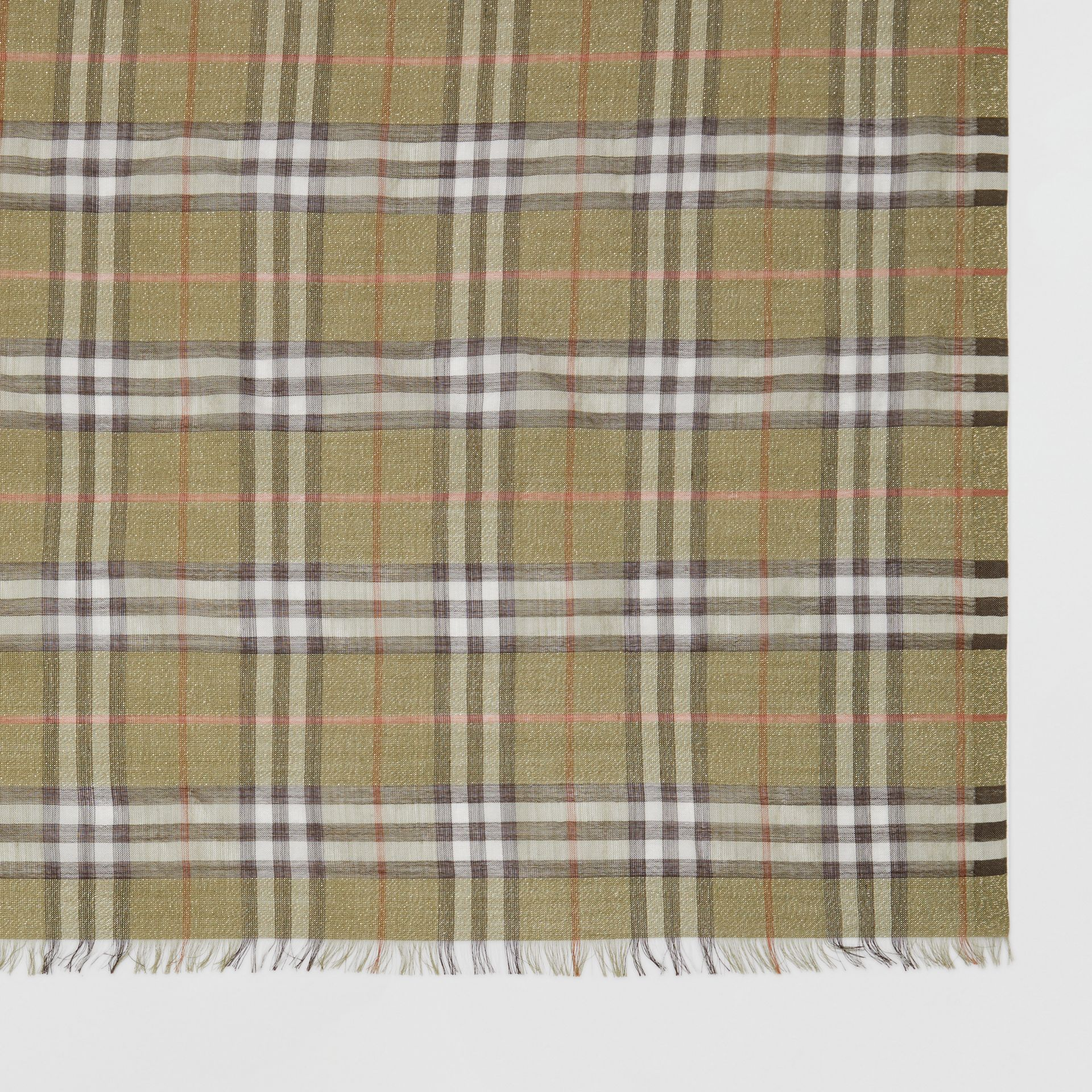 Metallic Check Wool Silk Blend Scarf in Pale Powder Green | Burberry Australia - gallery image 1