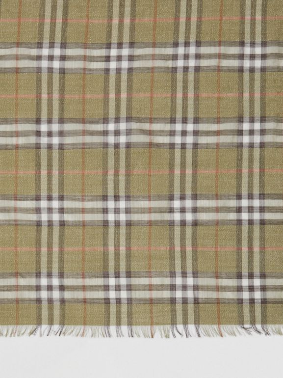 Metallic Vintage Check Wool Silk Blend Scarf - Women | Burberry - cell image 1