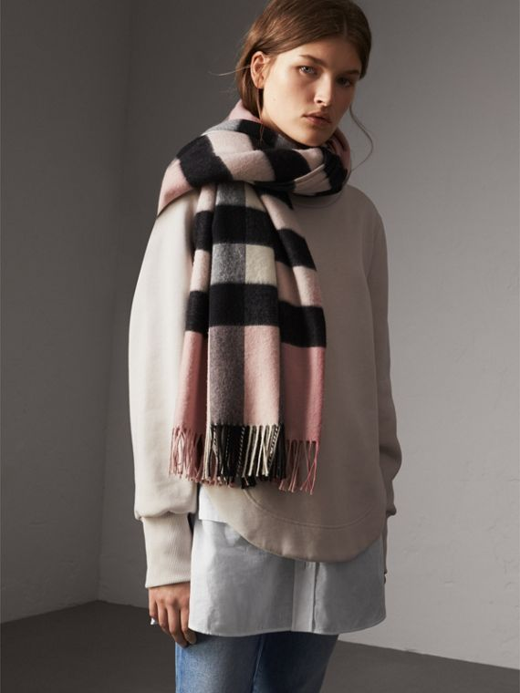 Check Cashmere and Wool Poncho in Ash Rose - Women | Burberry Australia - cell image 2