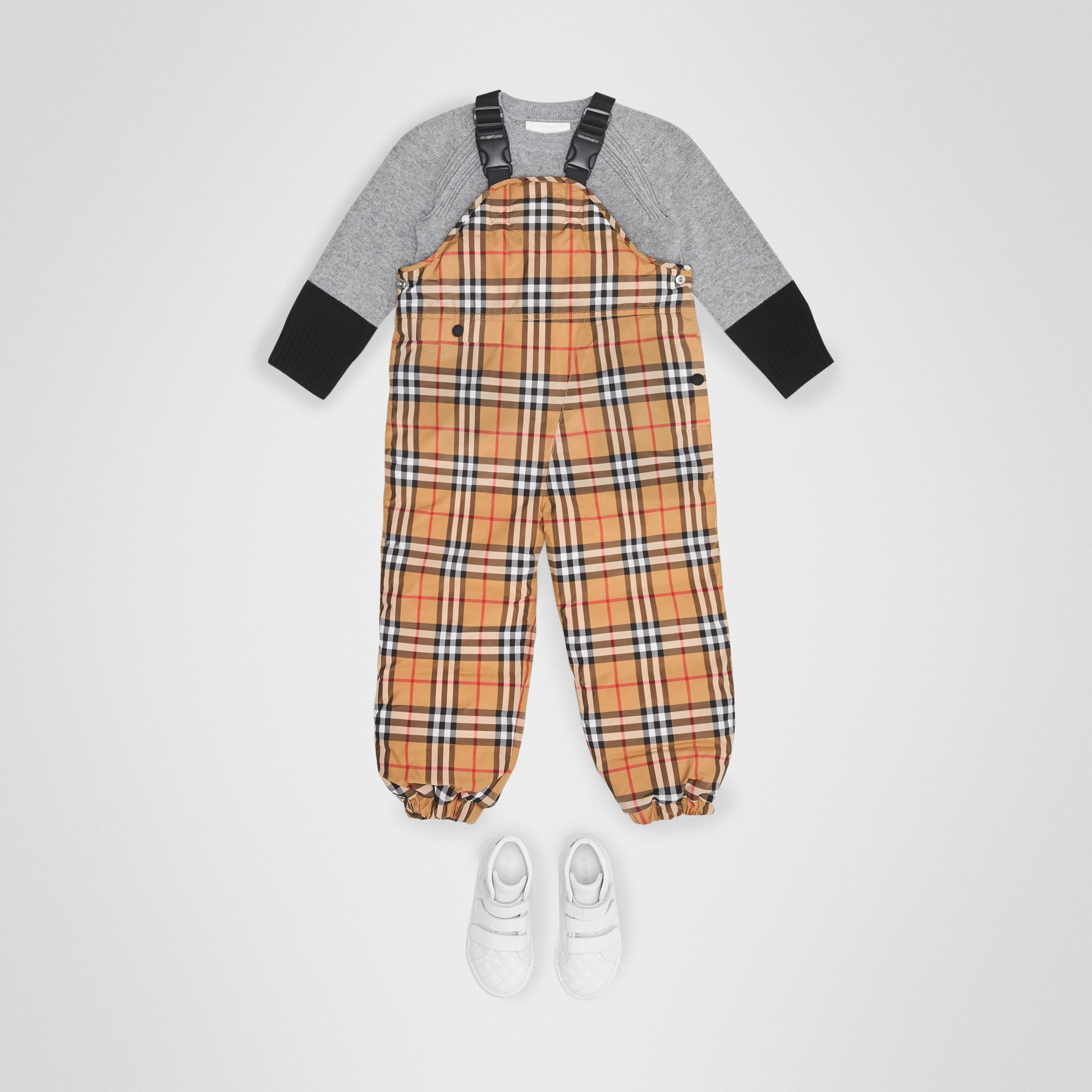 Showerproof Vintage Check Down-filled Dungarees in Antique Yellow | Burberry - gallery image 2