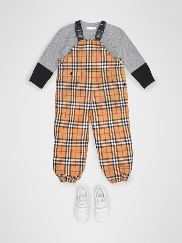 Showerproof Vintage Check Down-filled Dungarees in Antique Yellow - Boy | Burberry Australia - cell image 2