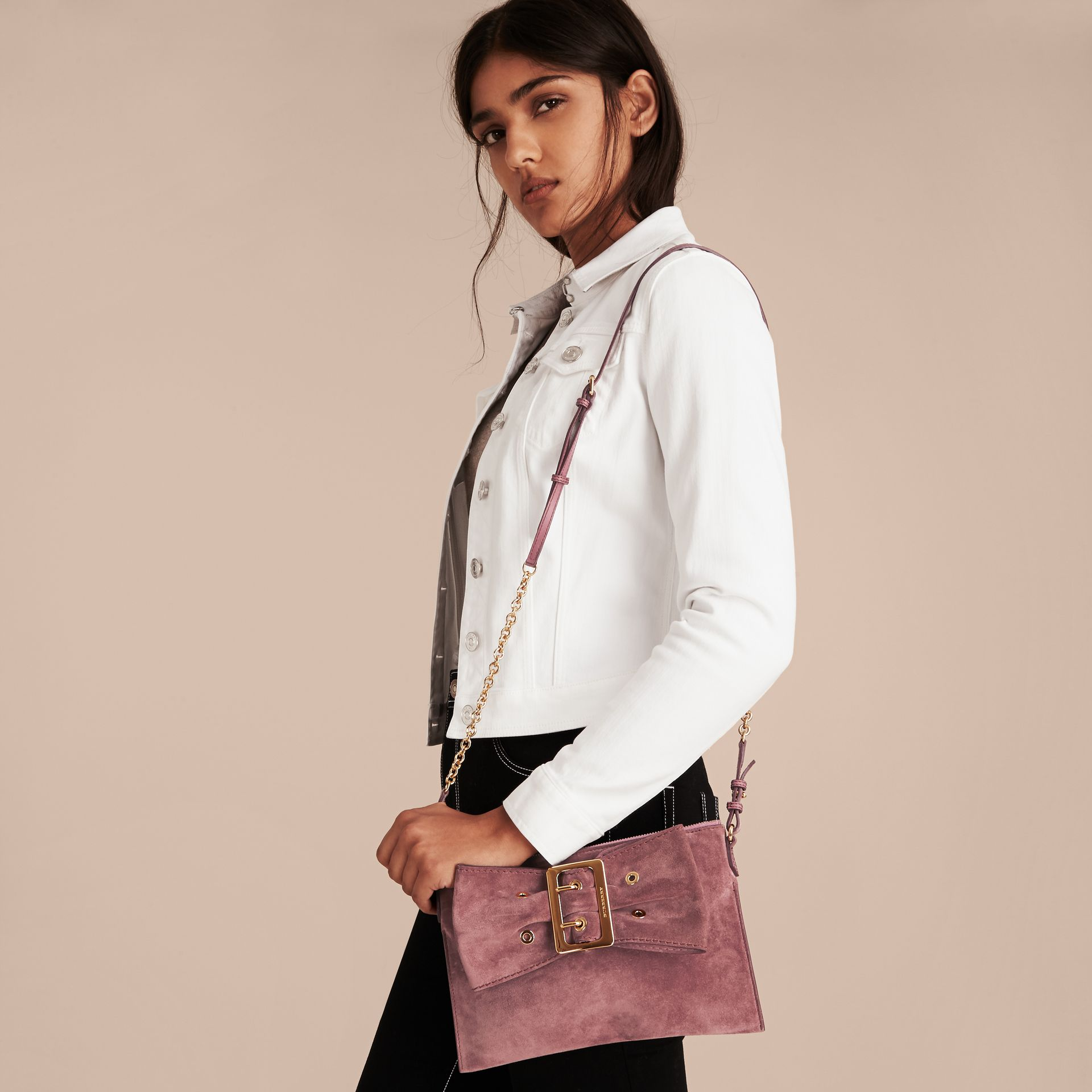 Suede Clutch Bag with Buckled Bow Detail Dusty Pink - gallery image 3