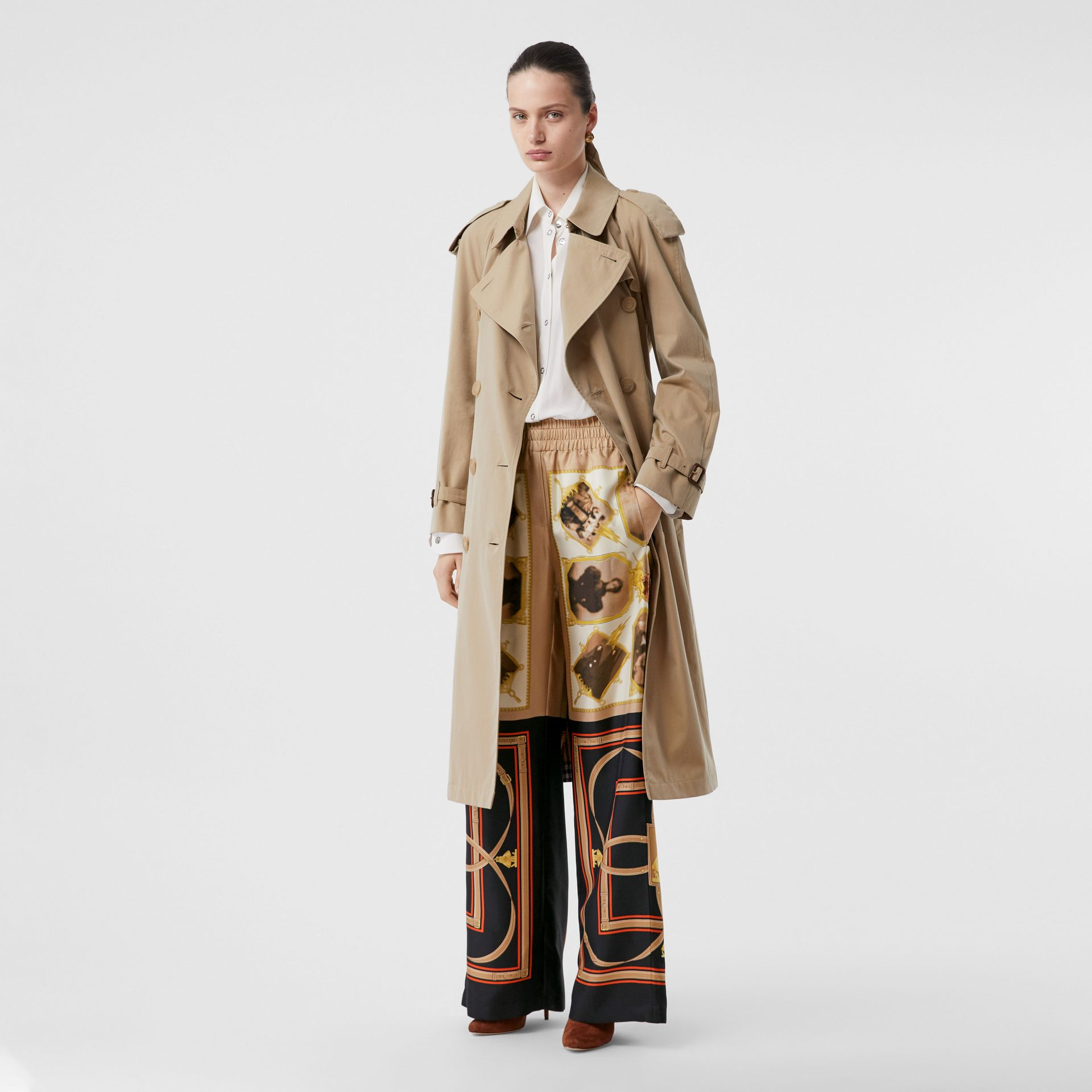 Montage Print Silk Twill Wide-leg Trousers in Brown - Women | Burberry United States - gallery image 0