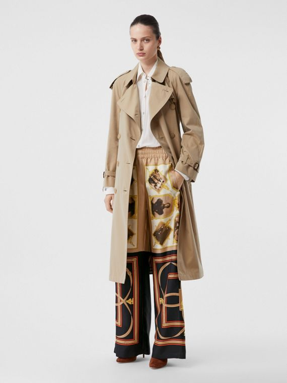 Montage Print Silk Twill Wide-leg Trousers in Brown