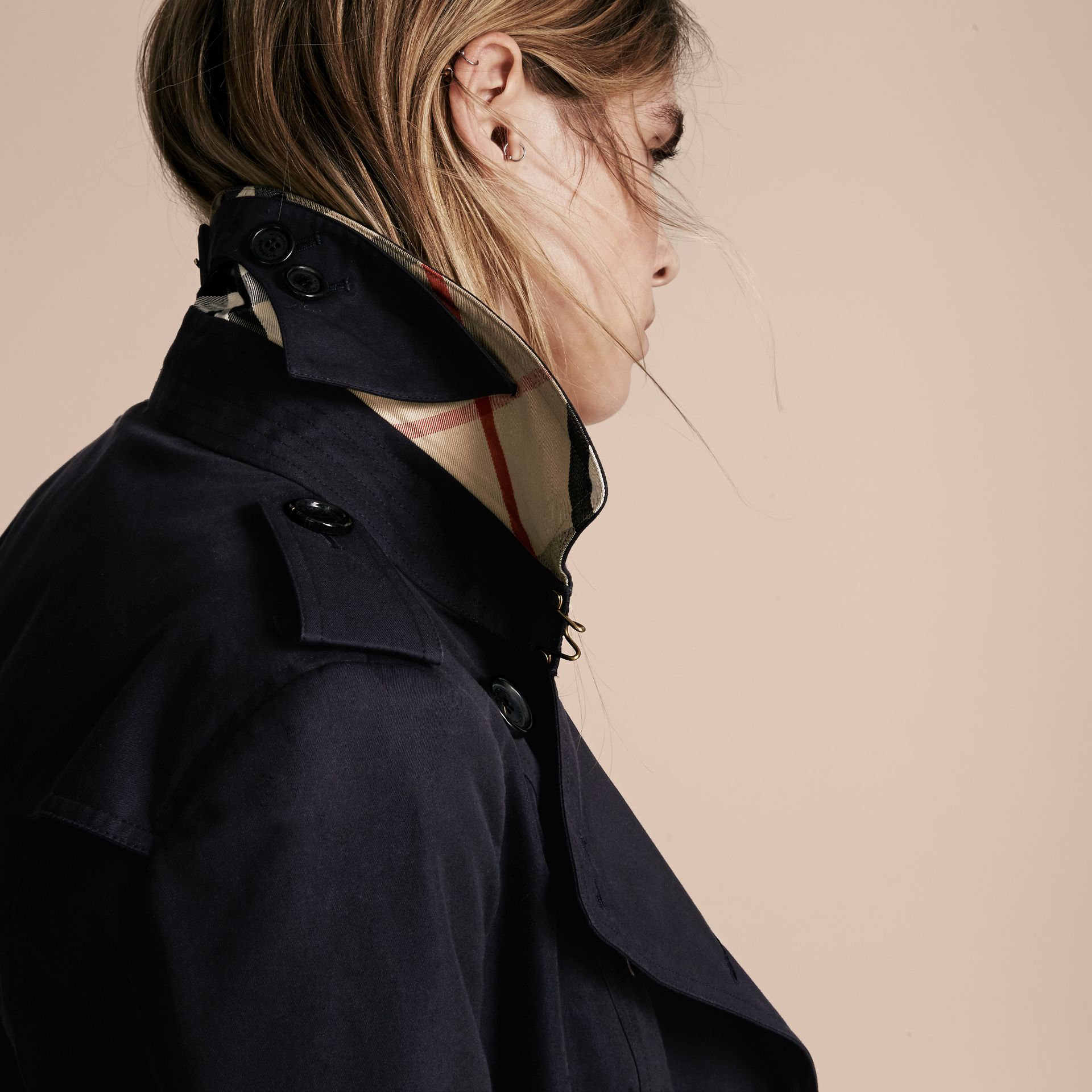 Navy The Sandringham – Mid-length Heritage Trench Coat Navy - gallery image 6